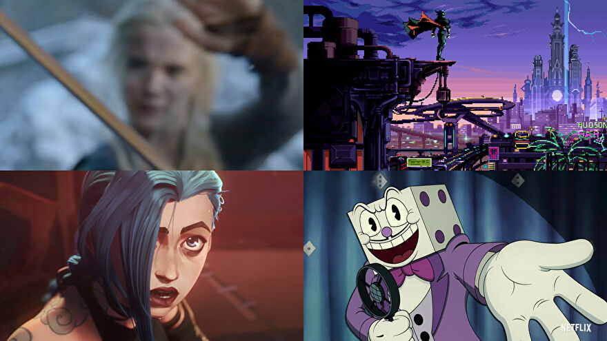 A montage of video game adaptations shown on Netflix's Geeked Week stream.