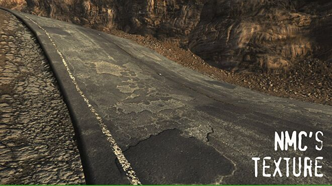 A highly detailed road texture in the New Vegas Texture Pack mod in Fallout: New Vegas