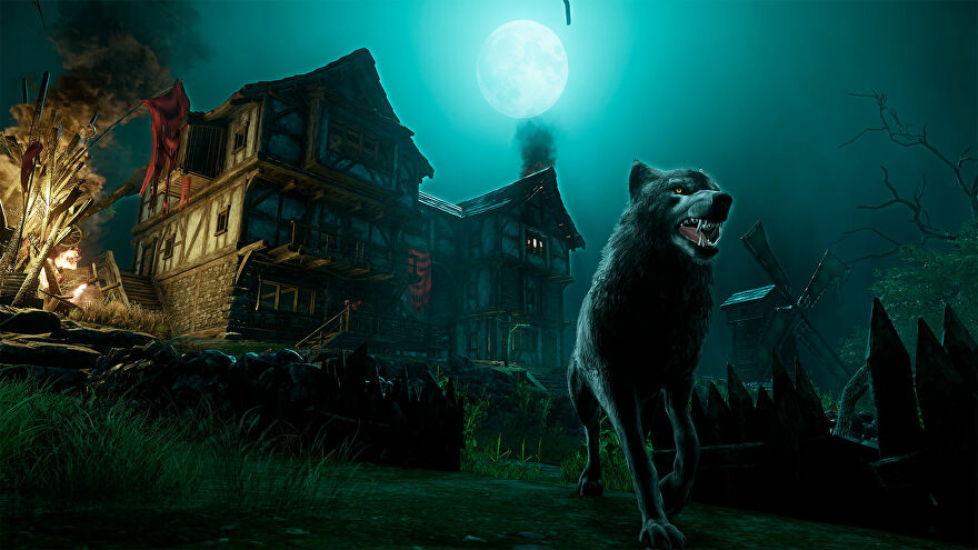 New World: A snarling wolf standing outside a ramshackle house under a full moon.