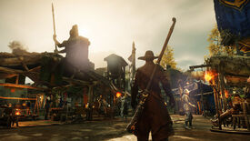 New World: A character in leather armor and a broad-brimmed hat stands silhouetted against a bright sky, looking over the crafter's alley in a town.