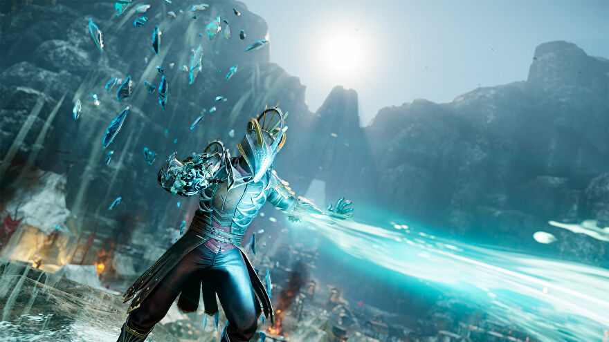 New World: A character in heavy armor shoots out a bright blue beam of ice magic. Behind them is a snowy mountain scene.