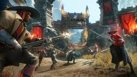 New World: Six soldiers actively fighting outside of the gate of a large fort