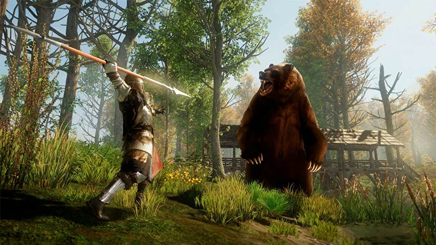 New World: A speared explorer attacks a bear in the woods outside of a fort