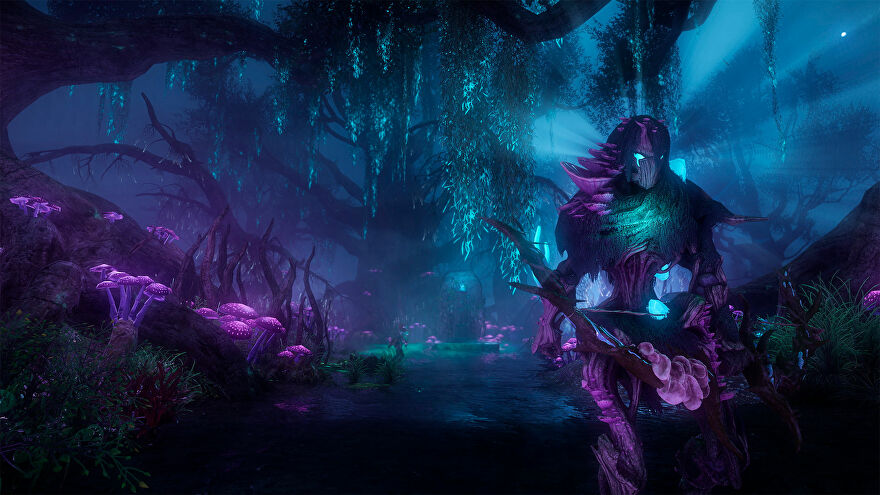 New World: A plant-like creature of teal and purple bark and leaves stands menacingly in a lush, alien environment of the same hues.