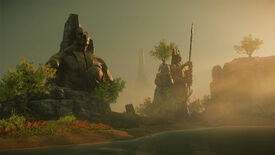 New World: A beachfront on Aeternum. Huge statues loom over the rocky shore.