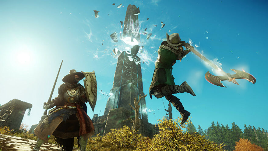 Lads fighting in a New World screenshot.