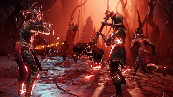 A group of heavily armored New World characters participating in an Expedition fight.