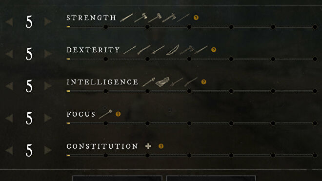 The Attributes screen in New World.