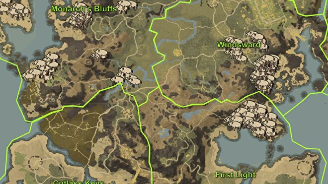 """A map of the starting regions in New World, focussing on the boar spawn """"farms"""" in First Light and Windsward."""