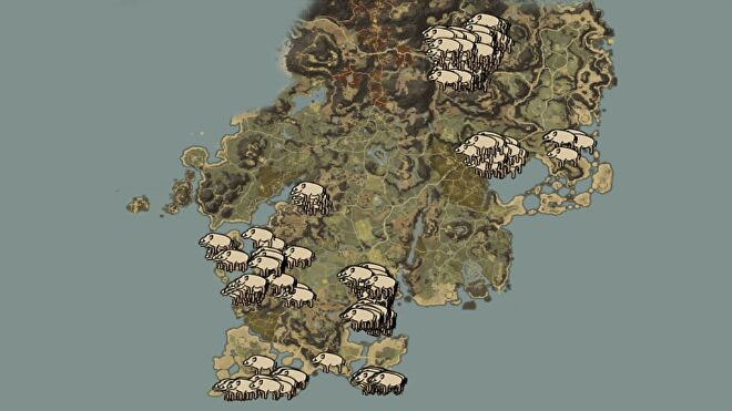 A map of Aeternum in New World, showing all boar spawn locations.