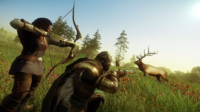 Two New World characters hunting a deer using a bow and a musket.