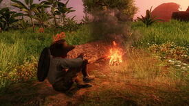 A player resting in front of a Camp fire in New World.