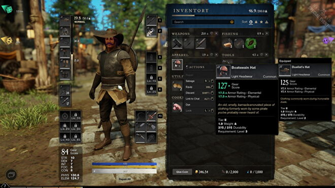 An image from New World which shows the character customisation menu, with armour and weapon slots, stats, and inventory management on display.