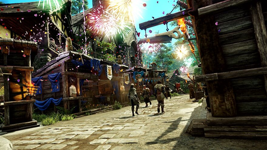 Three New World characters walk down the street in a safe area of the map.