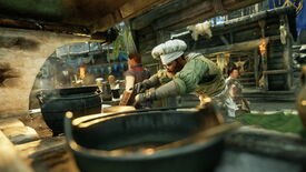 An image from New World which shows a chef cooking up something nice under the cover of his stall.