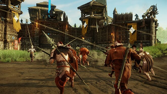 A group of New World characters prepare to besiege a settlement.