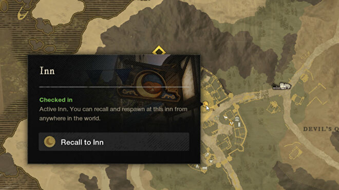 A screenshot of the New World map with the Recall To Inn option highlighted.