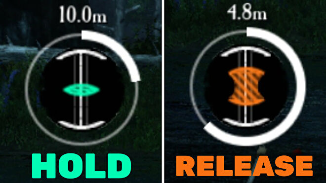 A side-by-side comparison of the fishing icon in New World: green on the left, orange on the right.