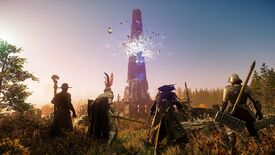 Four New World characters in very different armour sets face a tower glowing with supernatural energy.