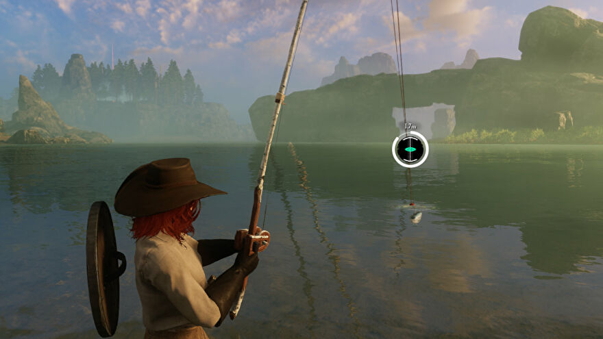 A player fishing in New World near Monarch's Bluffs Watchtower.