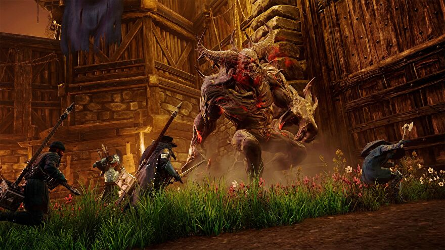 A Corrupted Boss looms over several player-controlled heroes on New World.