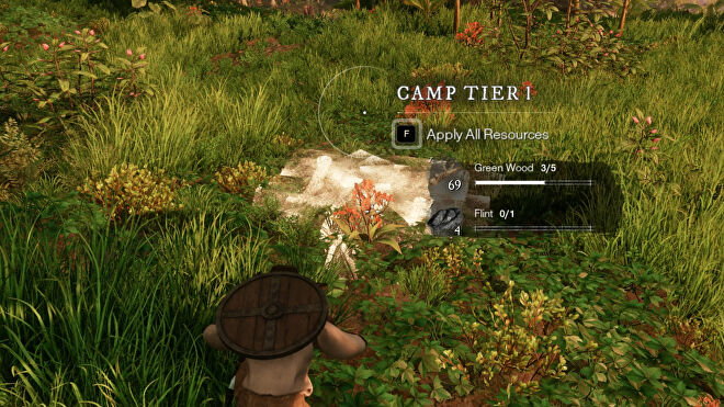 A player building a Camp in New World.