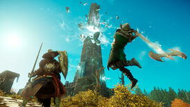 New World - One player character wielding a glowing axe leaps through the air at a player holding a shield. In the background a large, glowing tower is fractured.