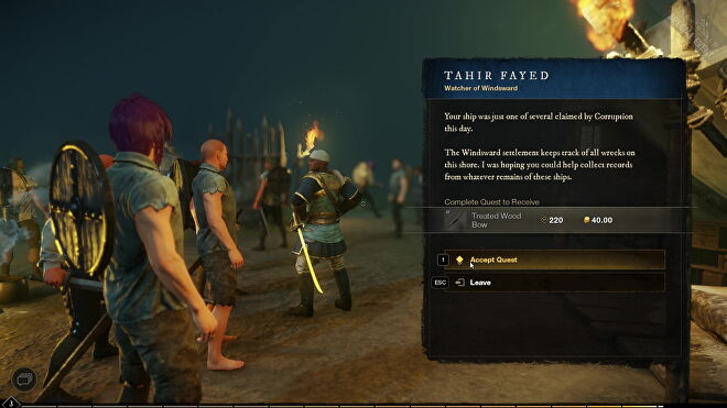 An image from New World which shows players standing on a dark shore accepting a quest from the same quest-giver.