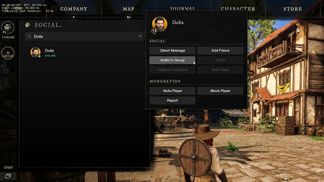 A screenshot showing how to invite a player into your group using the Social screen in New World.