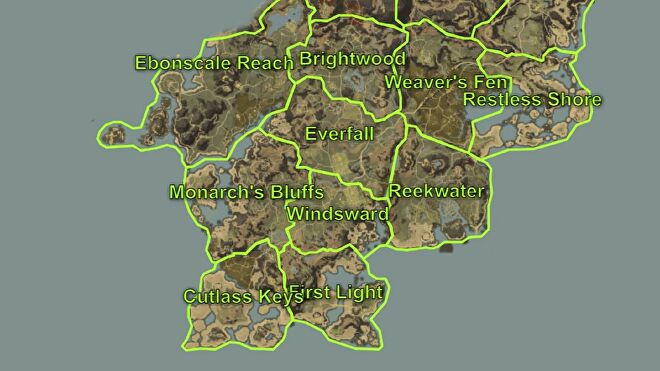 A map of Aeternum in New World, focussed on the starting zones in the southern part of the map.
