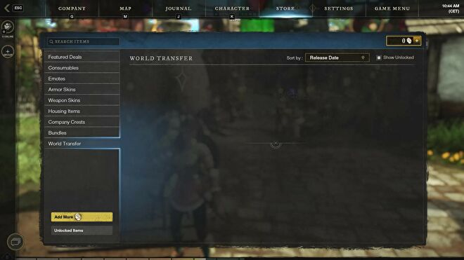 The World Transfer tab in the New World Store in its current state.