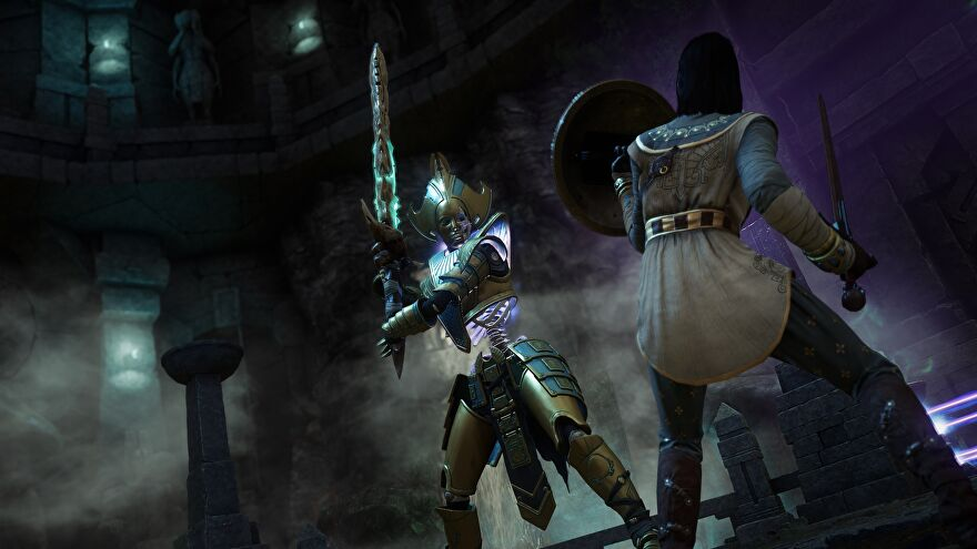 A New World character equipped with sword and shield faces off against an armoured skeleton carrying a greatsword.