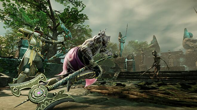 Two heavily-armoured New World characters fight a skeleton enemy. One carries a bow and arrow, the other has a battleaxe.