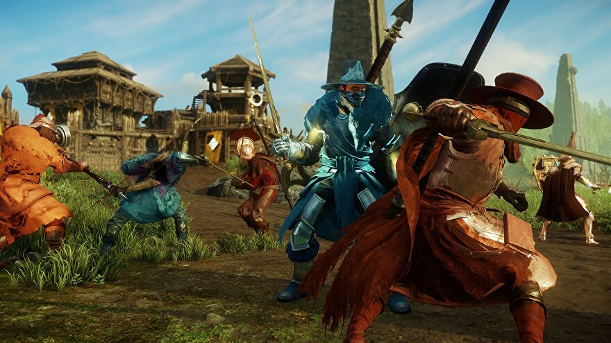 Several New World characters engage in battle outside a settlement, wielding a variety of the game's weapons.