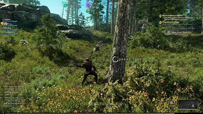 An image from New World which shows the player chopping down a young tree in a woodland area.