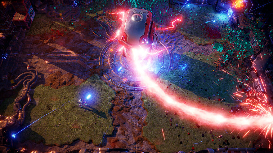 A screenshot of Nex Machina showing a small robot in the bottom left battling a red central enemy with a spinny death laser.