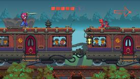 A screenshot of Nidhogg 2 showing two colourful characters on the roof of an old fashioned train, one is crawling and the other has a sword.