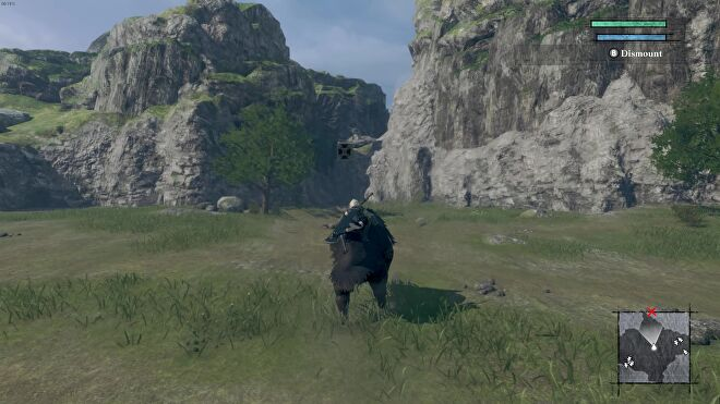 A screenshot of NieR Replicant which shows me riding on a huge boar through a lush, green field.