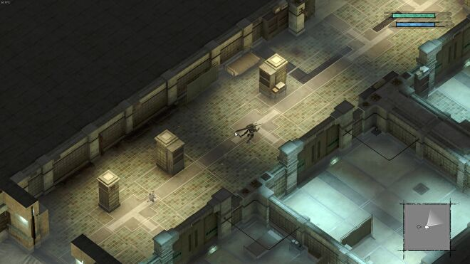 A top down view of NieR Replicant which shows me exploring a cold, grey facility of some kind.