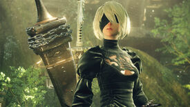 2B poses wearing a giant sword in a Nier: Automata screenshot.