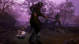 A screenshot from Nioh 2 which shows a rolly-cat ready to bash a spear-wielding soldier.