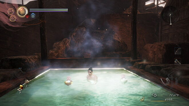 My character bathes in a hot spring. Two little kodama spirits relax in their bowls beside me.