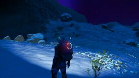 No Man's Sky - The player stands on a dark and snowy planet alone.