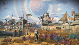 No Man's Sky frontiers update - A player on the surface of a yellow grassy planet runs towards a settlement full of buildings
