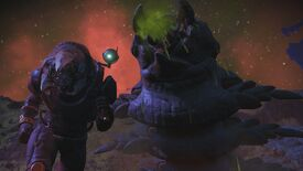 No Man's Sky's latest update adds new kinds of sandworm, as pictured photobombing a player selfie here.