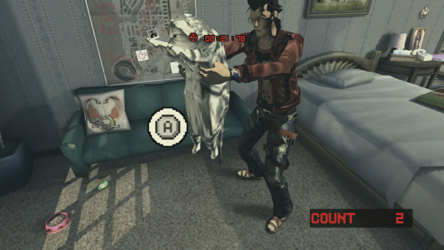 A screenshot of No More Heroes 2 showing protagonist Travis Touchdown standing in a grubby motel holding a large cat under its front legs.