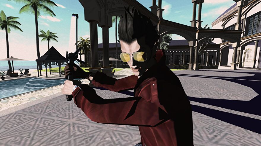 A screenshot from No More Heroes which shows Travis Touchdown raise his beam katana with both hands, ready for a fight.