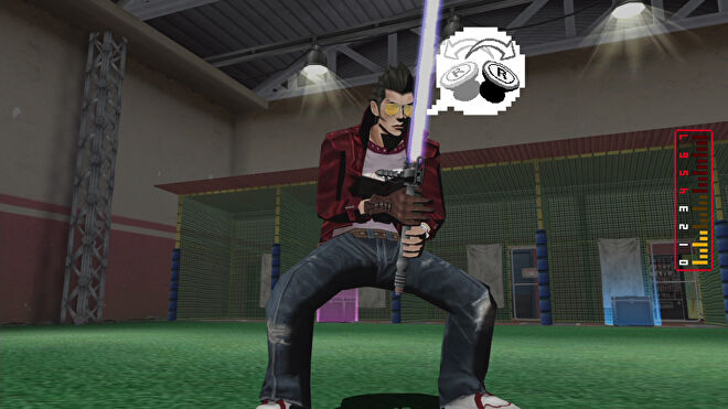 No More Heroes - Travis Touchdown holds his beam katana while standing in a batting center with a UI prompt indicating moving the right gamepad stick back and forth.