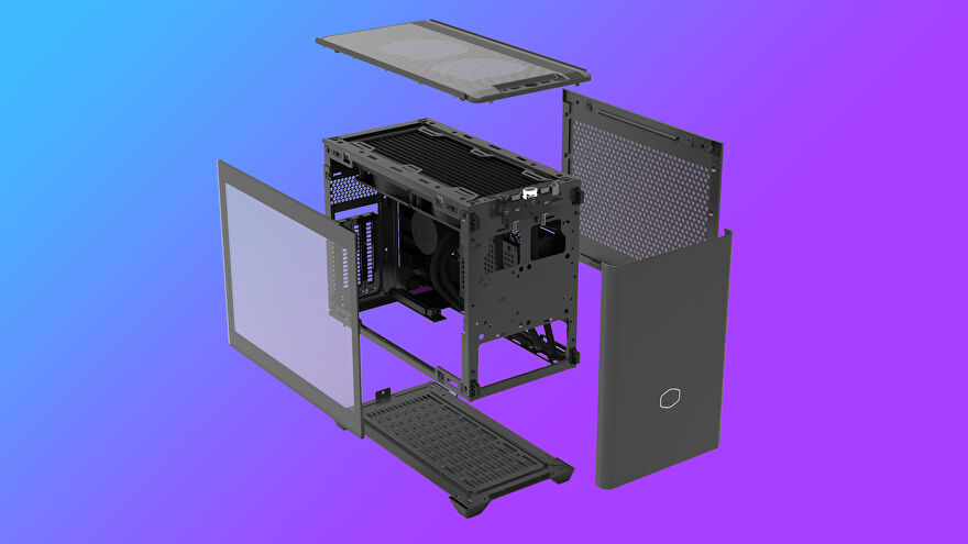 a photo of a cooler master nr200p itx pc case, exploded to show its easy accessibility and glass side panel