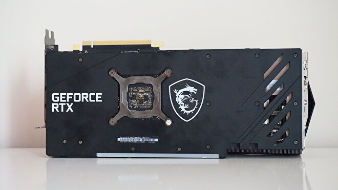 A photo of the MSI GeForce RTX 3060 Gaming X Trio from behind